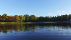 Autumn city park. Nature landscape. Stock Footage