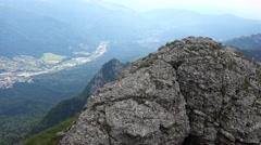 Panoramic view of Caraiman Mountains near Heroes Cross  4k UHD Stock Footage