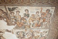 Ancient Greek mosaic in Paphos Archaeological Park Stock Photos