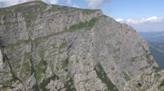 Beautiful aerial mountain view near to Heroes Cross 4k UHD right pan Stock Footage