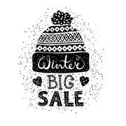 Winter Special banner or label with a knitted woolen cap. Business seasonal Stock Illustration