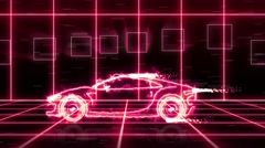 Abstract animation futuristic super car light beam wireframes on city background Stock Footage
