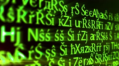 Abstract animation background pattern of computer screen source bug ascii code Stock Footage