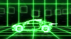 Animation green energy super car light beam wireframes on futuristic city 4k Stock Footage