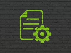 Programming concept: Gear on wall background Stock Illustration