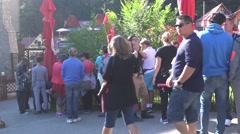 CARAIMAN MOUNTAINS ROMANIA-Circa JULY 2016:Visitors stand long queue Stock Footage