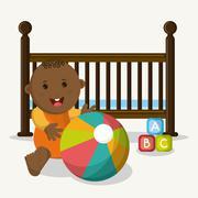 Baby boy cartoon of baby shower concept Stock Illustration