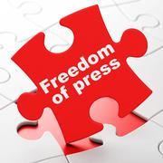 Political concept: Freedom Of Press on puzzle background Stock Illustration
