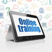Studying concept: Tablet Computer with Online Training on display Stock Illustration