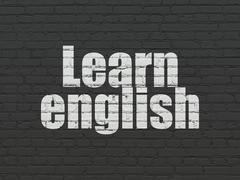 Learning concept: Learn English on wall background Stock Illustration