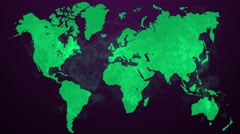Animation raindrop falling and create a green environment on the world map Stock Footage
