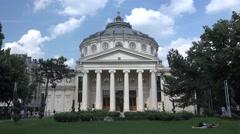 BUCHAREST ROMANIA-JULY 06 2016:The Romanian Athenaeum George Enescu 4k UHD Stock Footage