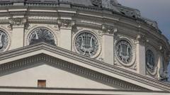 BUCHAREST ROMANIA-JULY 06 2016:The Romanian Athenaeum George Enescu detail UHD Stock Footage