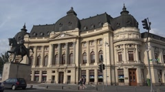 BUCHAREST ROMANIA - JULY 06 2016: Carol I Statue with traffic 4k UHD time lapse Stock Footage