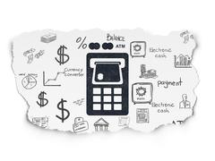 Banking concept: ATM Machine on Torn Paper background Stock Illustration