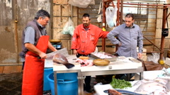 Fish market in Sicily, Italy Stock Footage