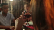 The woman drink the wine in the restaurant Stock Footage