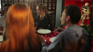 The woman listen the friend in the restaurant Stock Footage
