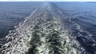 Back view of the sea washing from a cruise ship Stock Footage