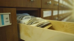Library catalog cards Stock Footage