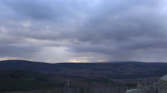 4k Clouds timelapse over mountain range Harz woodland panorama Stock Footage