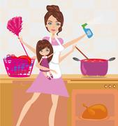 Busy young mother simultaneously doing many tasks around the house. Stock Illustration