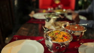 Delicious food in the indian restaurant Stock Footage