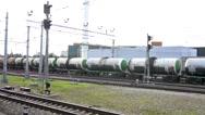 Freight train rides near Ladozhsky railway station Stock Footage