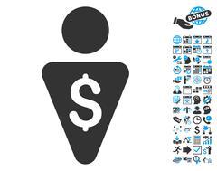 Banker Flat Vector Icon With Bonus Stock Illustration