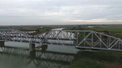 Over the railway bridge, aerial shoot Stock Footage