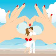Beach Kiss Love Heart Piirros
