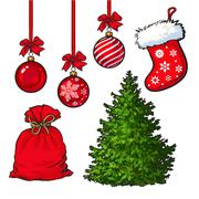 Set of Christmas tree, red decoration balls, boot and sack Stock Illustration