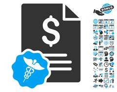 Medical Invoice Flat Vector Icon With Bonus Stock Illustration