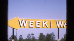 1952: a panorama of the weeki wachee sign CAMDEN, NEW JERSEY Stock Footage