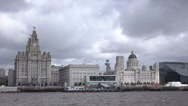 POV from ferry coming into pier head, Liverpool waterfront skyline, England Stock Footage
