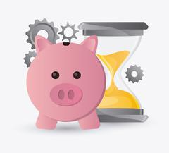 Piggy hourglass and gears design Stock Illustration