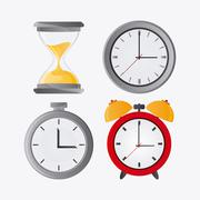 Traditional clock hourglass and chronometer design Stock Illustration