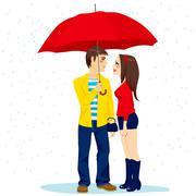 Couple Under Red Umbrella Stock Illustration