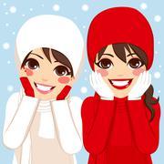 Red White Winter Friends Stock Illustration