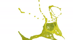 Yellow splash of liquid in slow motion. Colored paint Stock Footage