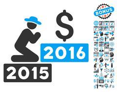 Pray For Money 2016 Flat Vector Icon With Bonus Stock Illustration