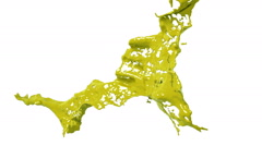Slow motion yellow splash of liquid. Colored paint Stock Footage