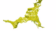 Slow motion yellow splash of liquid. Colored paint Stock Footage