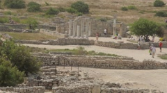Panorama of the ruins of Chersonesos Stock Footage
