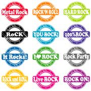 Set of rock and roll music stamps Piirros