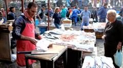 Fish market in Catania. Italy Stock Footage