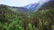 Aerial view above Caucasus mountain in Abkhazia Stock Footage