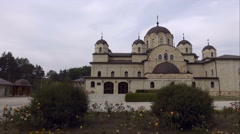 Aerial drone shooting monastery Stock Footage