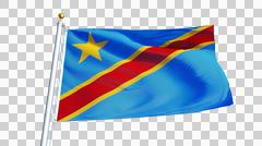 Democratic Republic of the Congo flag, close up, isolated with alpha channel Stock Photos