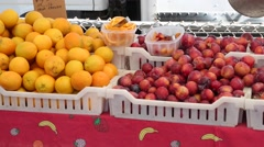 Farmers Market Oranges and Apples Stock Footage